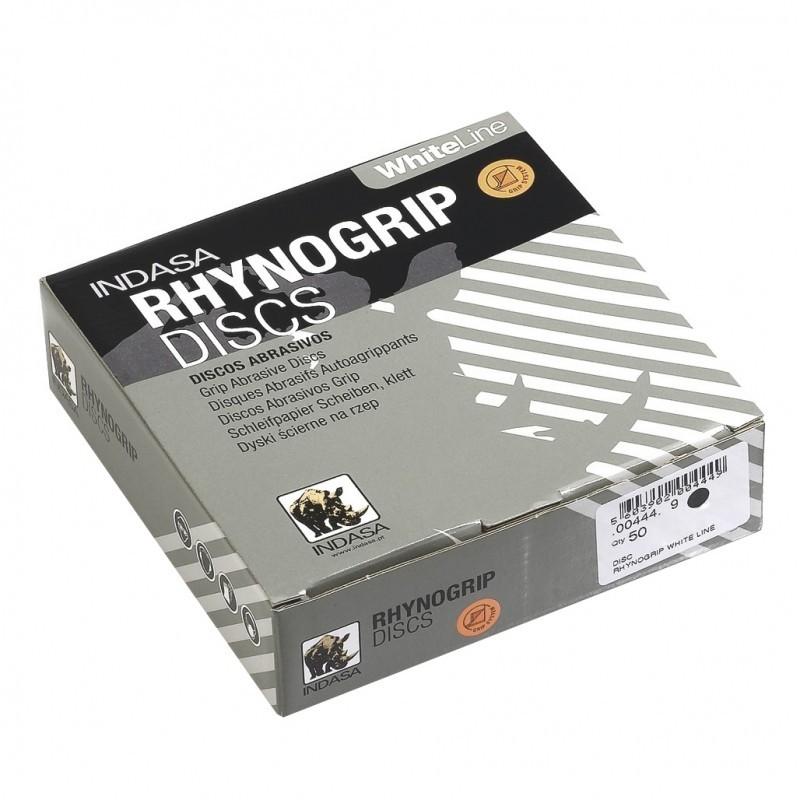 100Discos Abrasivos Rhynogrip WhiteLine Velcro diam. 125 mm 8 perforaciones - INDASA