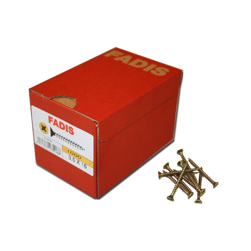 1000 Tornillos 4.0x16 mm. C/Plana PZ Rosca completa - FADIS - Bicromatado