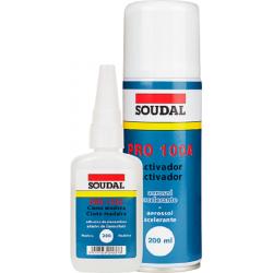 Kit botella de 60 gramos de Ciancrilato + Spray de 200ml de acelerador - Soudal