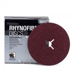 25 Discos Abrasivos Rhynofibre A Silver 180x22 mm 4 slot - INDASA